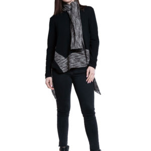 asymmetric black top with removable scarf- front
