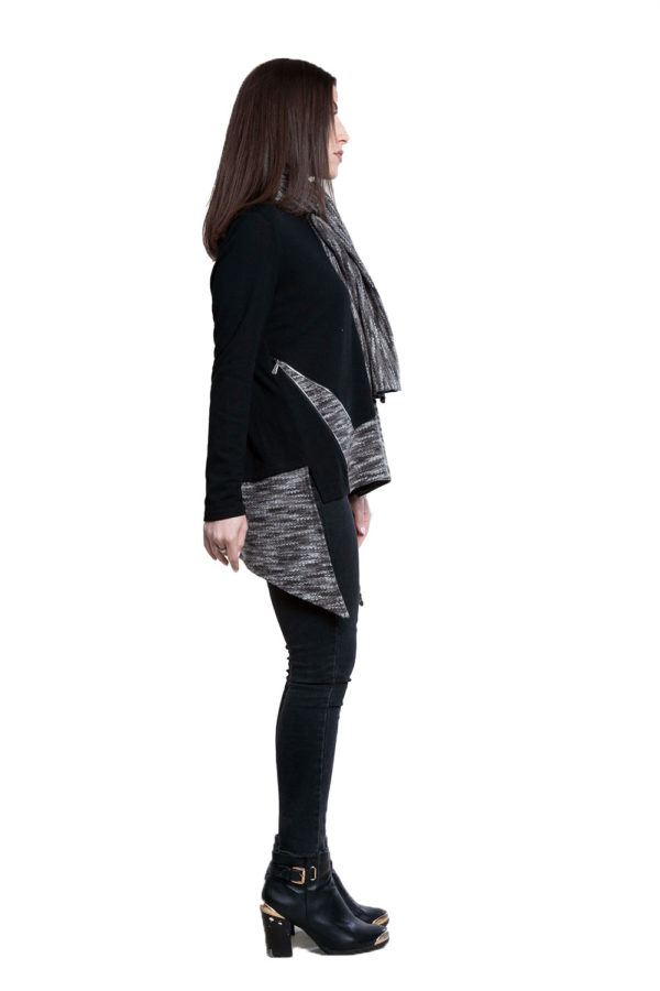 asymmetric black top with removable scarf- side