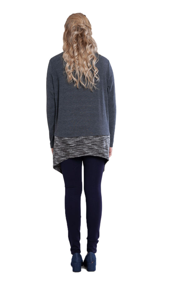 asymmetric grey top with removable scarf- back