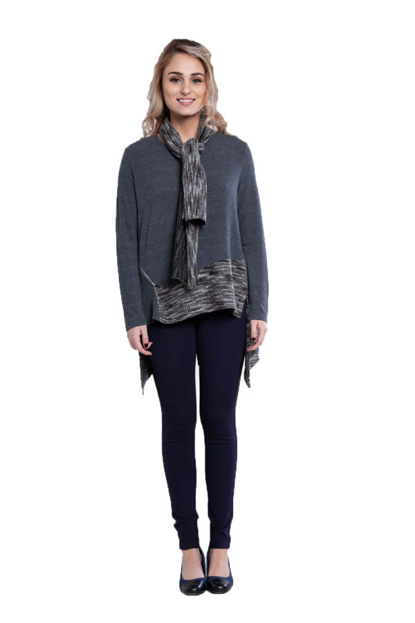 asymmetric grey top with removable scarf- front