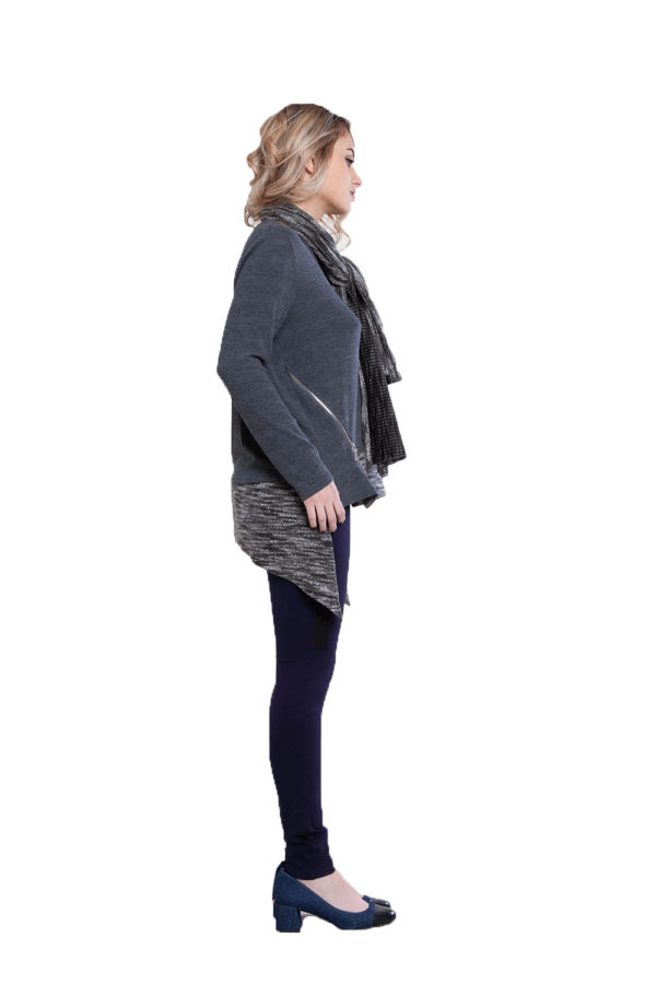 asymmetric grey top with removable scarf- side