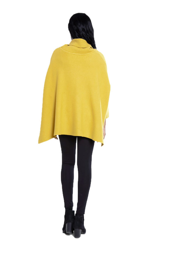 yellow knit turtleneck- back