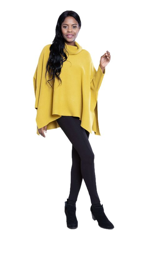 yellow knit turtleneck- front