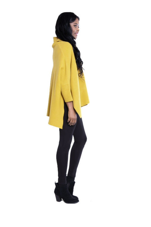 yellow knit turtleneck- side