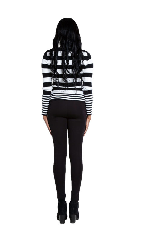 black and white striped turtleneck sweater- back