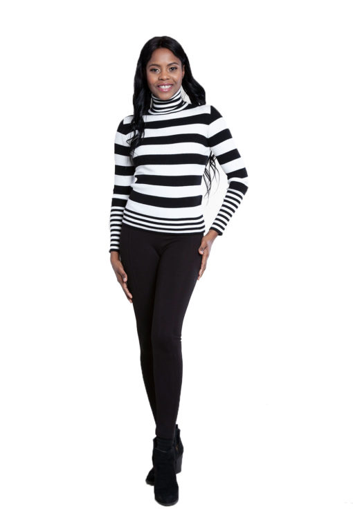 black and white striped turtleneck sweater- front