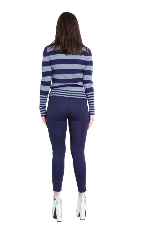 navy and grey striped turtleneck sweater- back