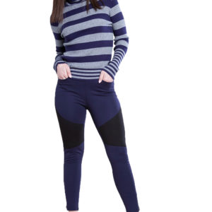 navy and grey striped turtleneck sweater- front