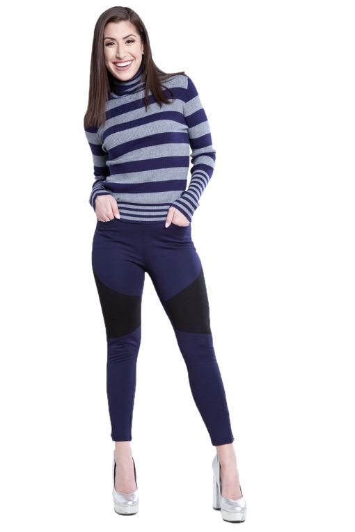 navy color block jeggings- front