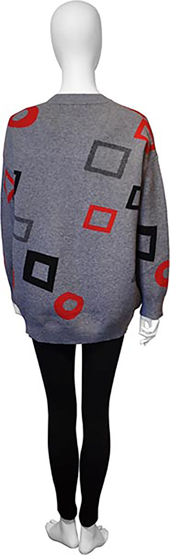 grey knit cardigan- back
