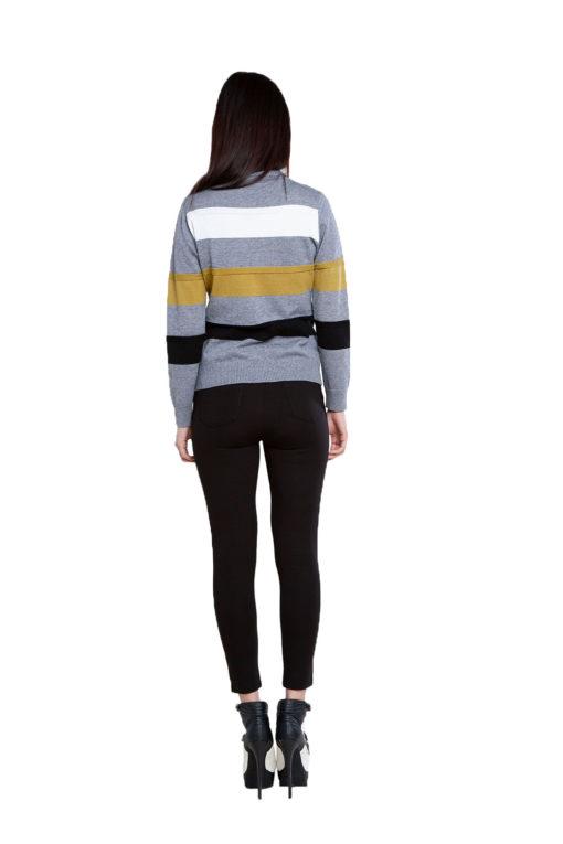 grey striped knit sweater- back