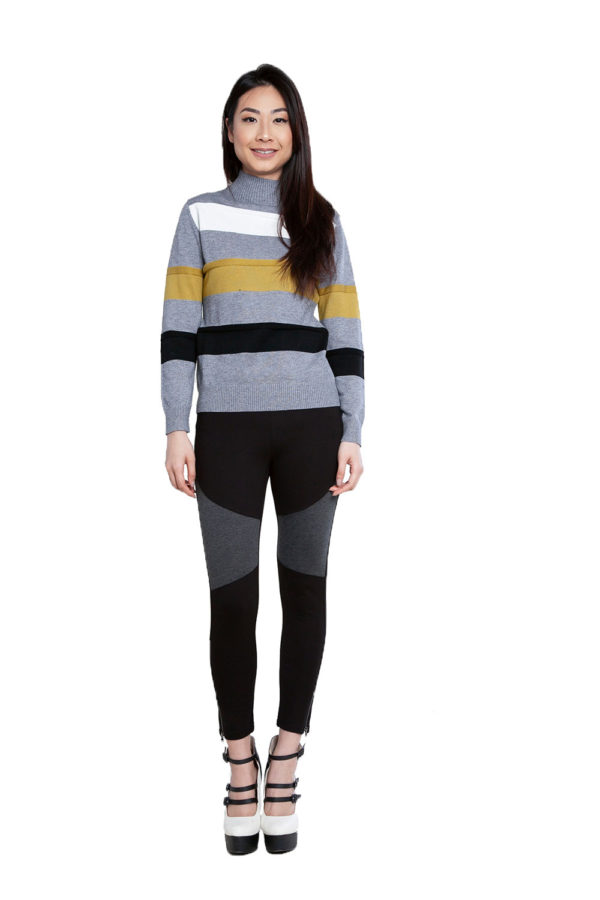 grey striped knit sweater- front