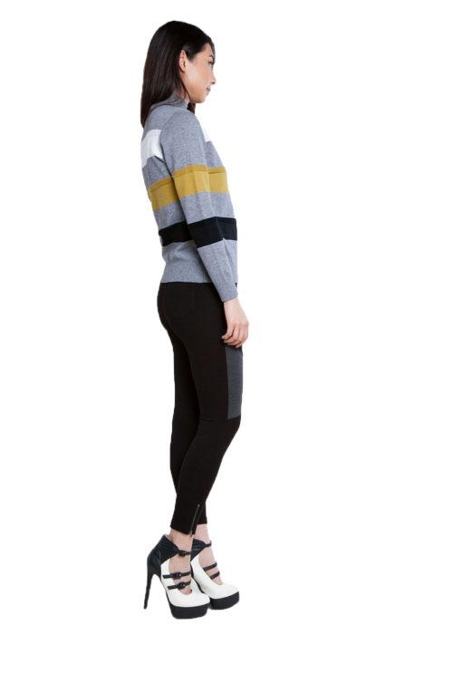 grey striped knit sweater- side
