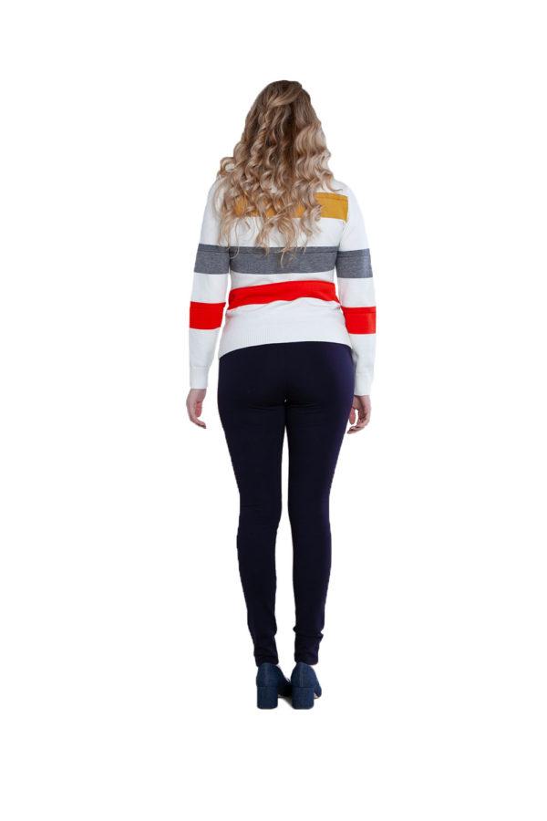 white striped knit sweater- back