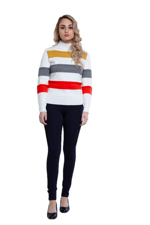 white striped knit sweater- front