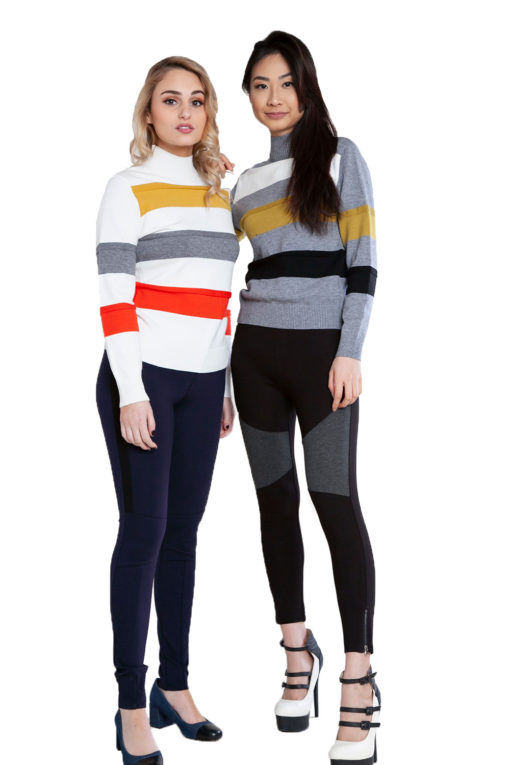 grey and white striped knit sweaters- front