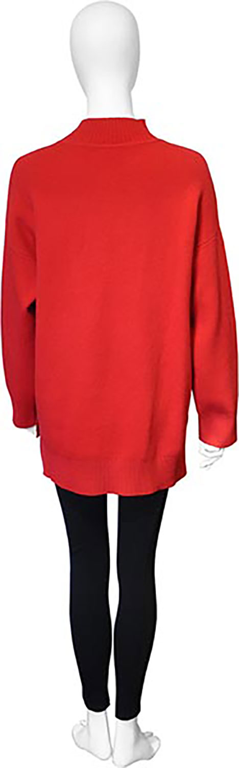 red oversized knit sweater- back