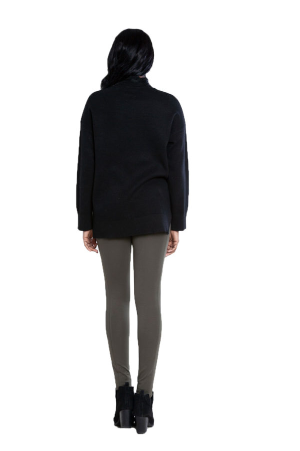 black oversized knit sweater- back