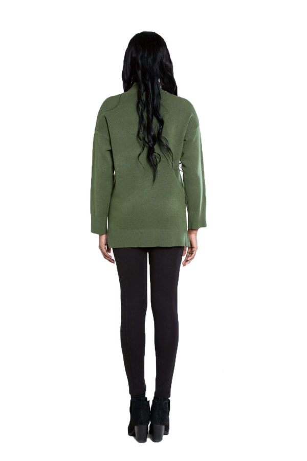 olive green oversized knit sweater- back
