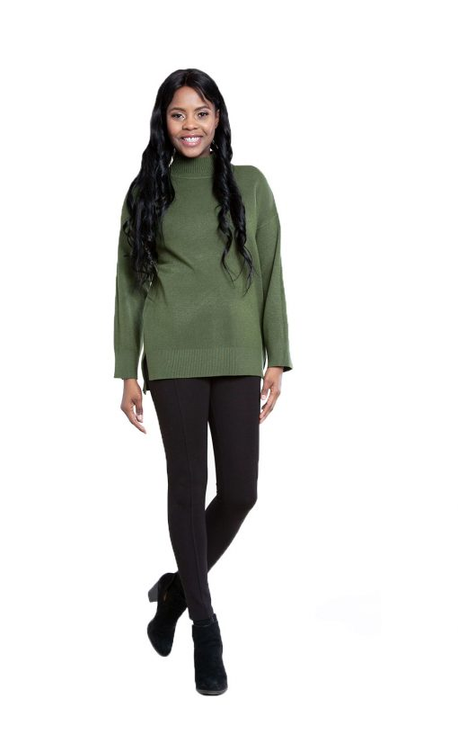 olive green oversized knit sweater- front