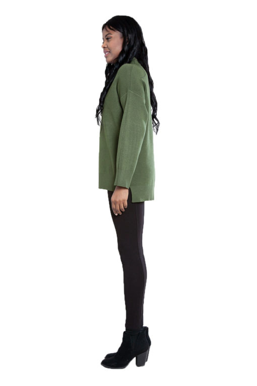 olive green oversized knit sweater- side