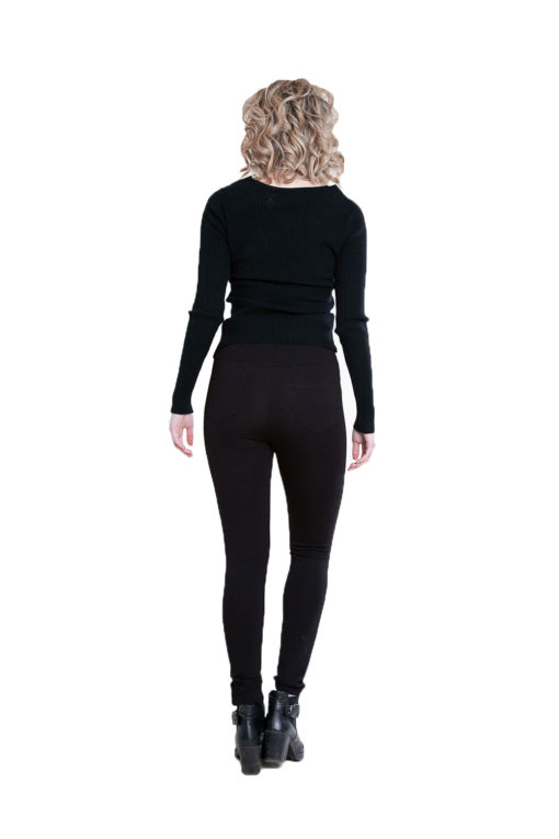 twist front black sweater- back