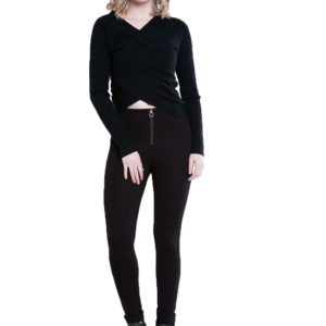twist front black sweater- front