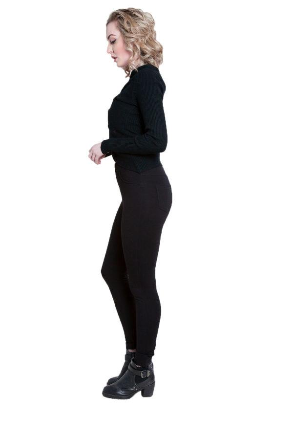 twist front black sweater- side