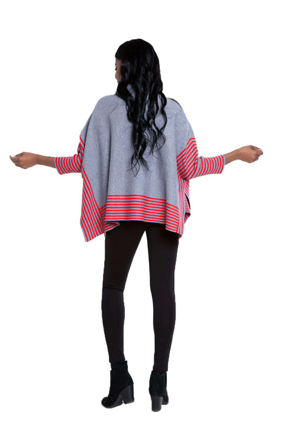 grey striped sweater- back