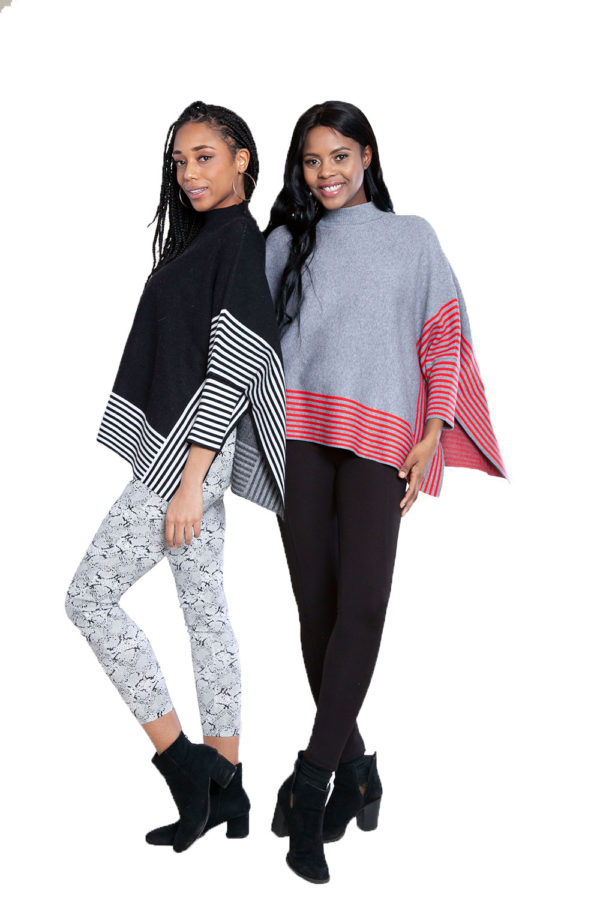black and grey striped sweaters- front
