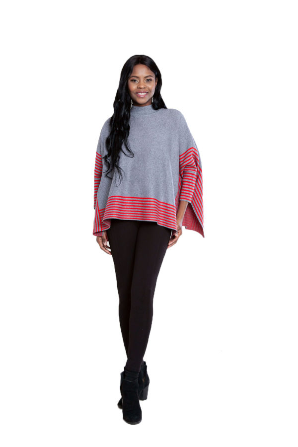 grey striped sweater- front