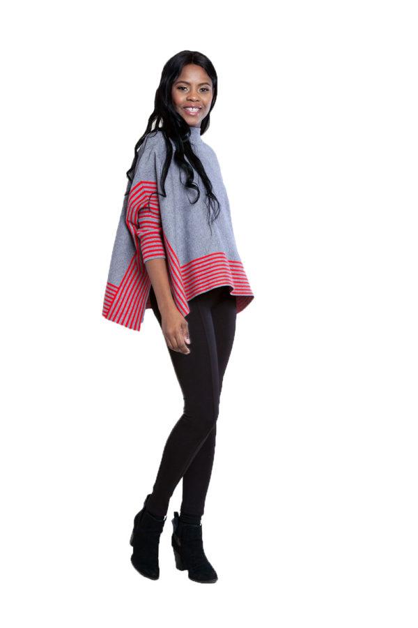 grey striped sweater- side