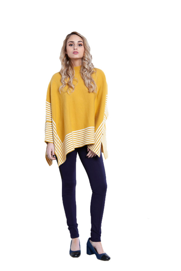 yellow striped sweater- back
