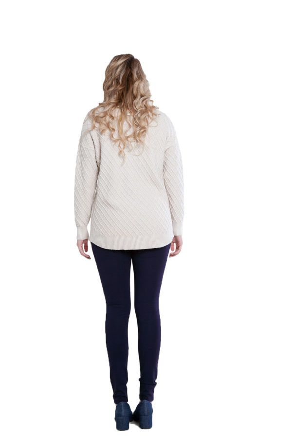 beige cable knit sweater- back