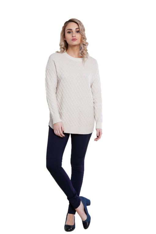 beige cable knit sweater- front
