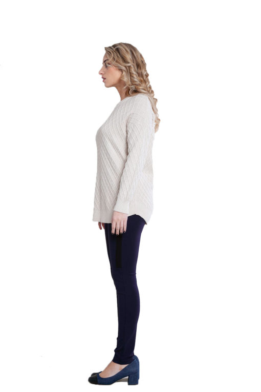 beige cable knit sweater- side