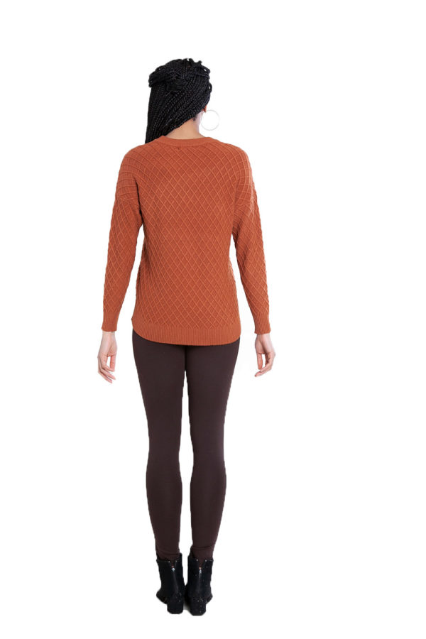 brown cable knit sweater- back