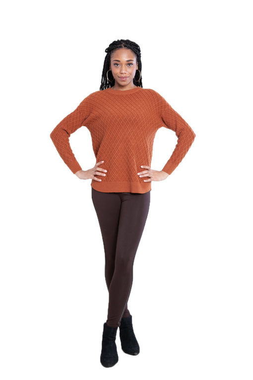 brown cable knit sweater- front