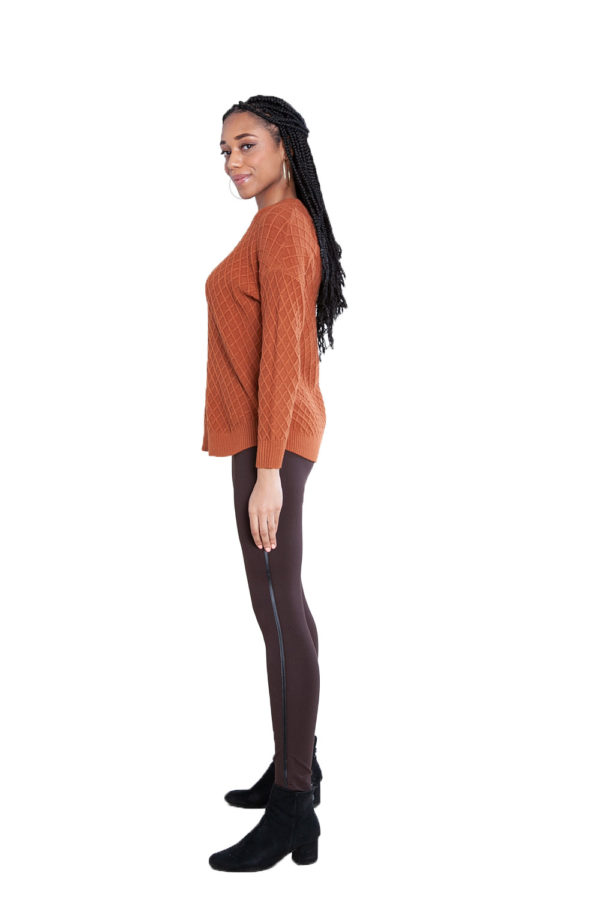 brown cable knit sweater- side