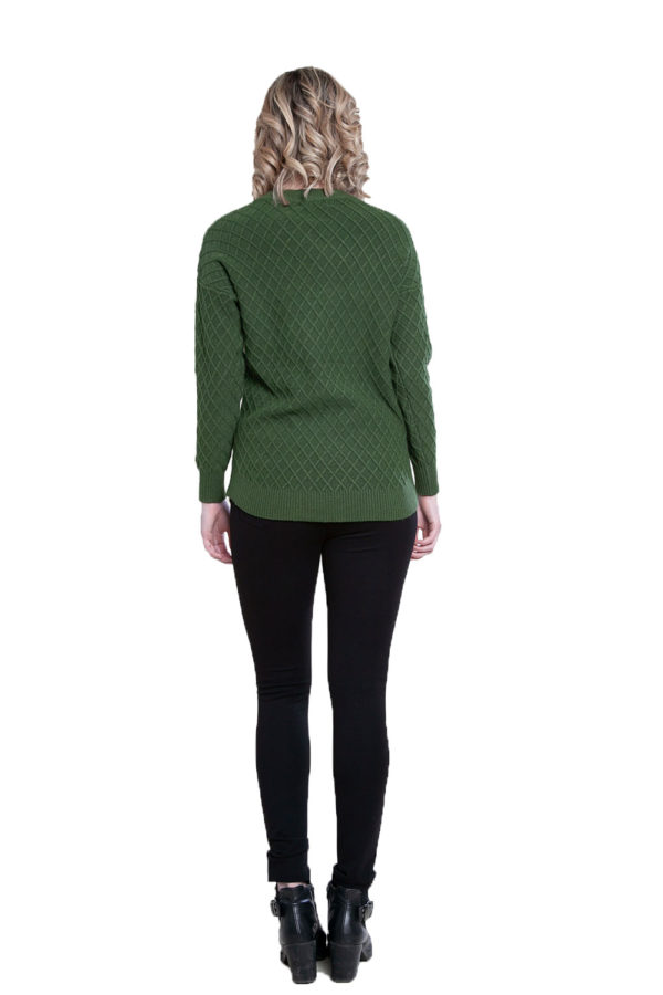 green cable knit sweater- back