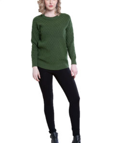 green cable knit sweater- front