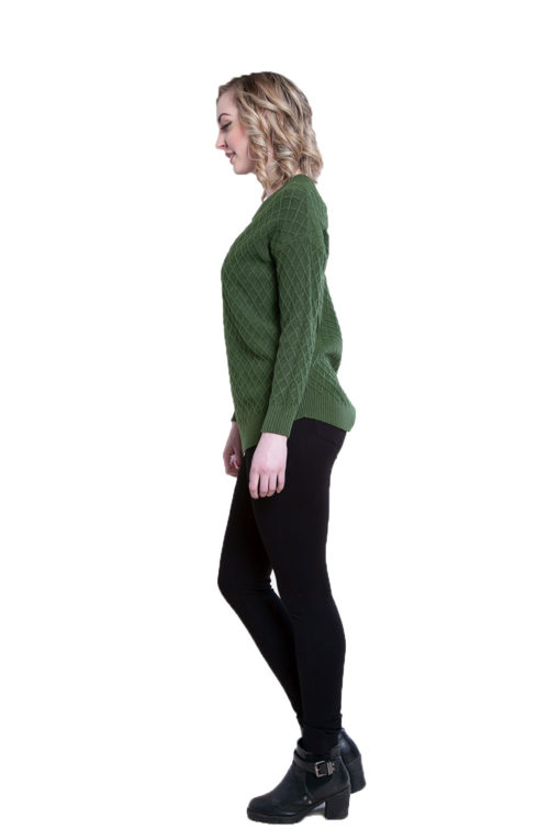 green cable knit sweater- side