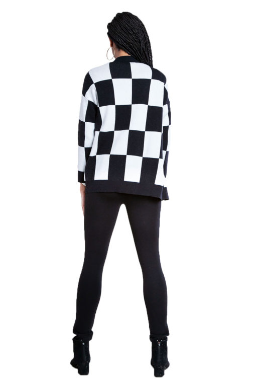 black and white check knit cardigan- back