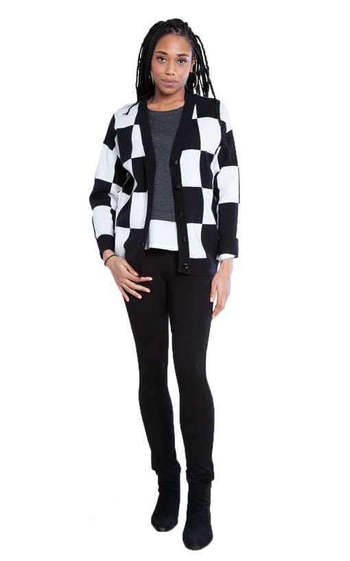 black and white check knit cardigan- front
