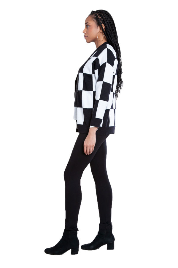 black and white check knit cardigan- side