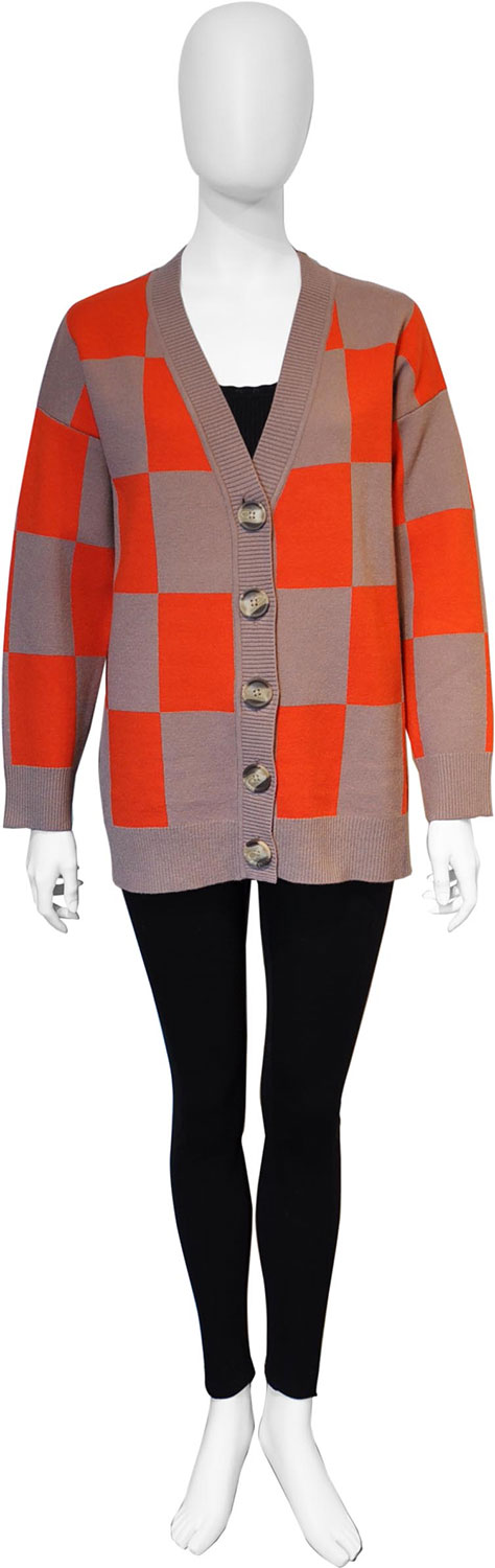orange and taupe check knit cardigan- front