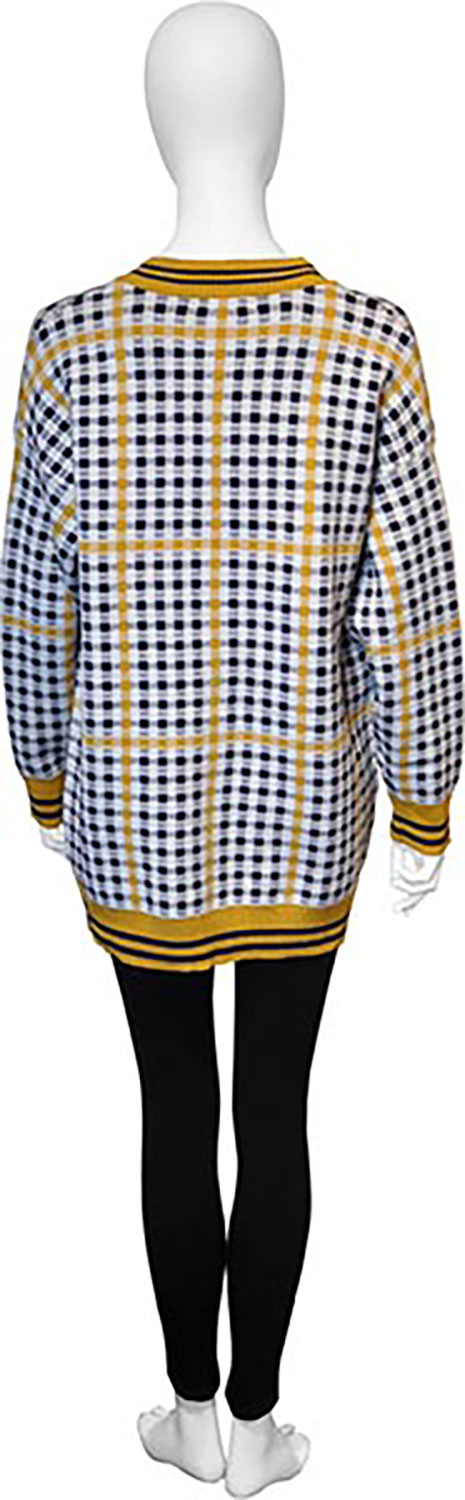 yellow and black plaid knit cardigan- back