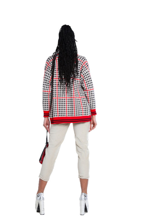 red and black plaid knit cardigan- back