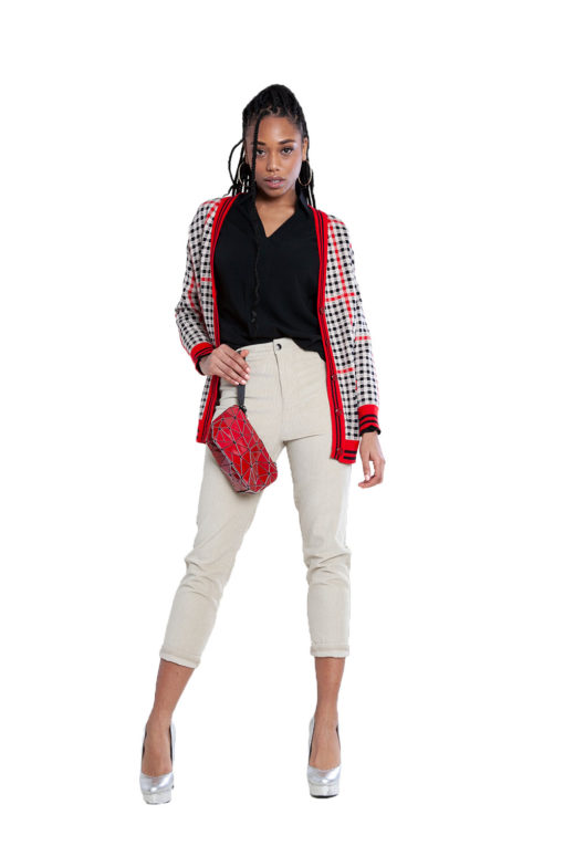 red and black plaid knit cardigan- front