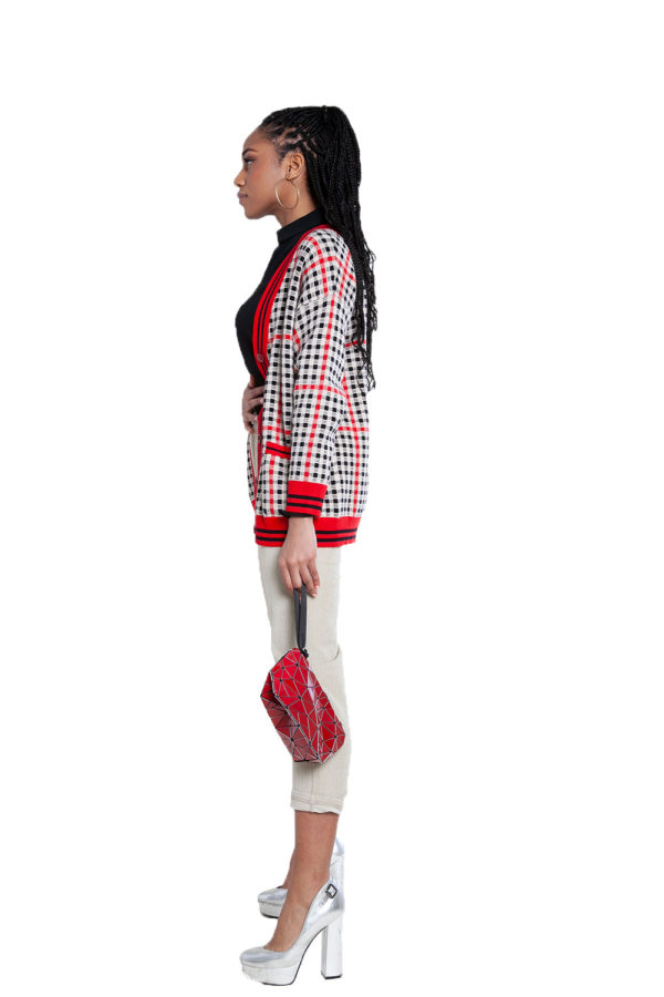 red and black plaid knit cardigan- side